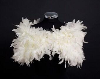 Oh La La.....  PARISIAN VINTAGE CHIC 1930s Glamour - Ivory- Ostrich Feather Ruffle Stole Wrap Shrug