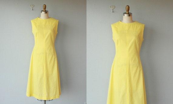 vintage 60s dress / 1960s day dress / 1960s dress / lemon yellow dress / swiss dot dress - size medium