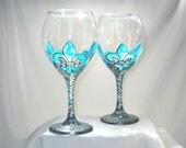 Tiffany Blue Fleur de lis Wine Glasses Hand Painted Toasting Glassware