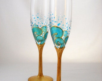 Ocean Themed Beach Champagne Flutes Hand Painted Beach Glassware Gold Gilded Stems ~ Pair