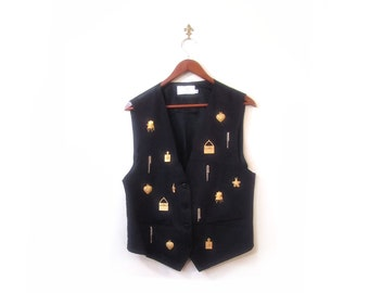 Vintage 80s Preppy Blue CHARMED Button Up Fashionista Vest s m