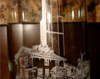 Vintage 100th anniversary SEARS ROEBUCK glass Chicago tower cup tumbler 1986