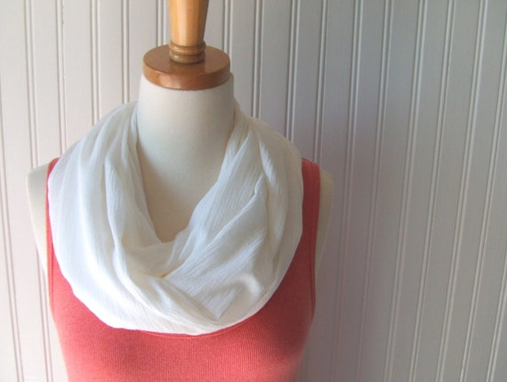 Cotton Infinity Scarf in Antique Pearl- Summer Off White Beige Gauze Circle Scarf