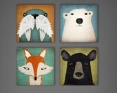 4 Native Vermont  8x8x1.5 Stretched CANVAS Baby Nursery wall art signed Fox, Polar Bear, Black Bear, Walrus by Ryan Fowler