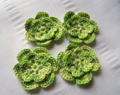 Crochet flower set of 4 motif 1.5 inch color green