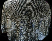 Art Deco French Tulle Sequined Capelet Evening Shawl Fabric Antique Sequin Black Silver Shrug Drape
