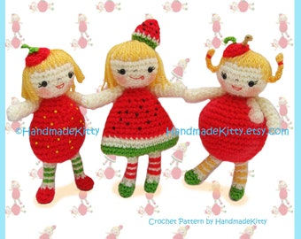 Yummy Strawberry, Watermelon & Apple Girls Amigurumi PDF Crochet Pattern by HandmadeKitty