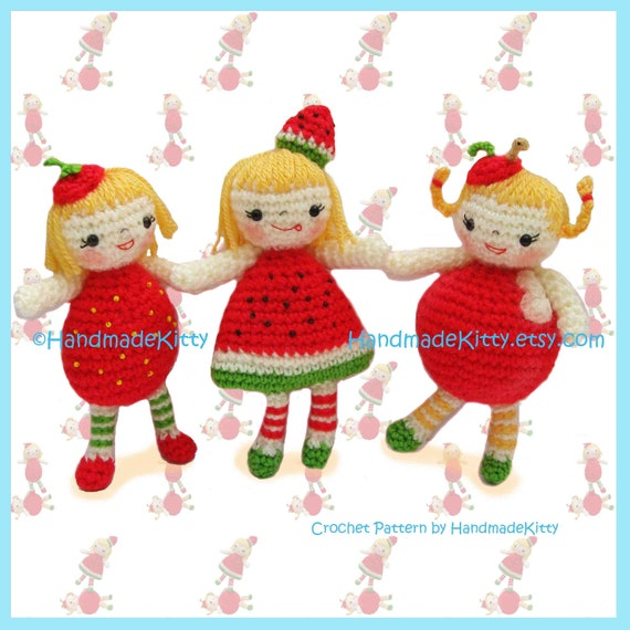 Yummy Strawberry, Watermelon & Apple Girls Amigurumi PDF Crochet Pattern by HandmadeKitty