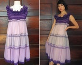 SALE 1960s AMETHYST COLORBLOCK Ruffled Midi Dress S