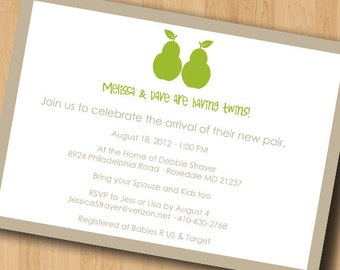 Perfect Pears - Baby Shower Invitation - Digital Design Only