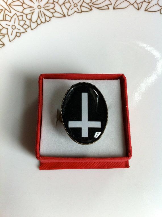 Inverted Cross / Cross / White on Black  Adjustable Ring
