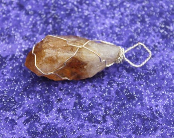Orange Creamsicle - Citrine Pendant Wire Wrapped in Silver