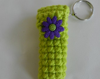 Lime Green Lip Balm Cozy/Purple Flower Button