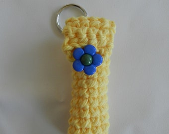 Yellow Lip Balm Cozy/Blue Flower Button