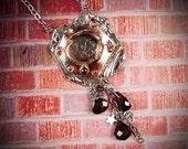 PEQUEÑA MUERTE - Little Death - Bullet Hole Necklace OOAK One Of A Kind Garnet, Sterling Silver, Copper