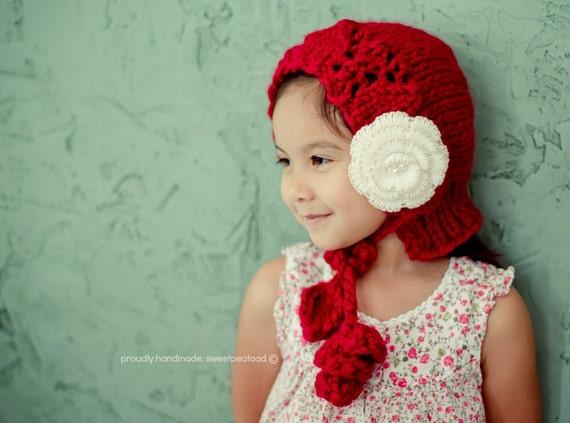 Bonnet Hat, Red Bonnet, Girl Bonnet Hat, Winter Hat