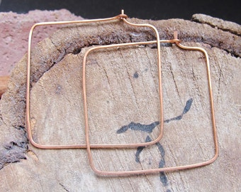 Copper Square Hoop Earrings - 2 inch Beading Hoops - Large Fancy Ear Wires - Hammered earwires