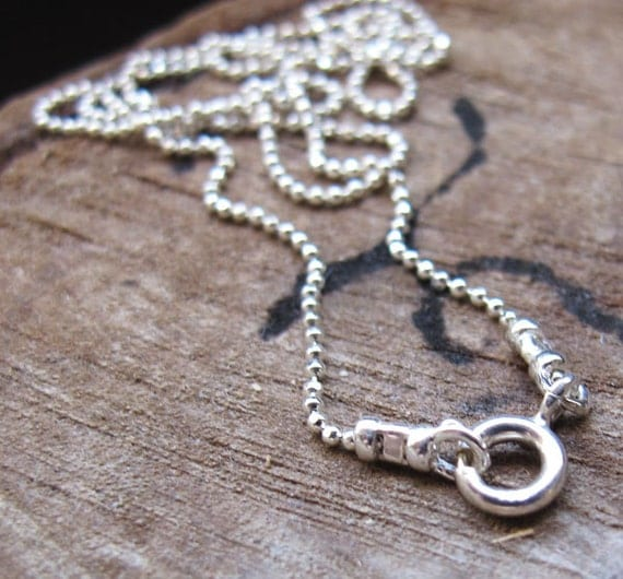 Sterling Silver Ball Chain - Bead Chain Necklace 17 inch with Ring Clasp - Jewelry Making / Long Chain / Silver Chains / Ring Clasp Chain