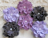 Made to Order Handmade Paper Flowers Sweet and Shabby Wild Roses - Purples Eggplant, Wisteria, Light Amethyst Set of 6 Embellishments
