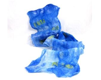 Cobweb Felt Scarf Wool Scarf Gift for Her Blue Scarf Womens Scarf Winter Scarf Fall Scarf Winter Fashion Fall Fashion Sari Ribbon OOAK