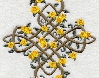 CELTIC ROSES CROSS- Machine Embroidered Quilt Blocks (AzEB)