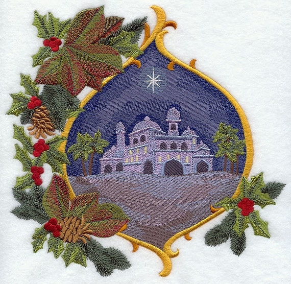 CITY OF BETHLEHEM With Christmas Foilage- Machine Embroidered Quilt Block (AzEB)