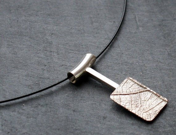 Leaf Texture Shibuichi Necklace