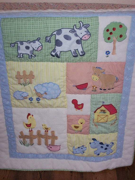 Baby Quilt Lightweight Farm Animals ///FREE SHIP///