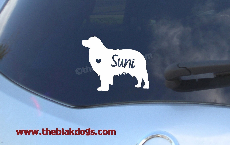 Australian Shepherd Silhouette Vinyl Sticker Personalized - Vinyl decals australia