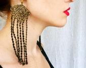 Victorian Gypsy Black Gold Lace Fringe Earrings