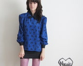 blue rosette blouse . peter pan bow tie collar .medium.large .sale .sale