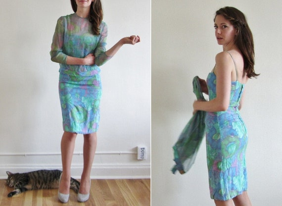 watercolor floral dress . wiggle fit sheer two piece set .extra small xs .sale