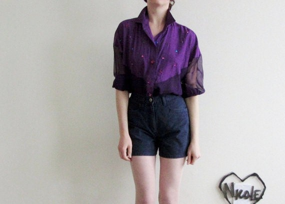 rhinestone GEM blouse whew . Jem and the Holograms .medium.large .sale