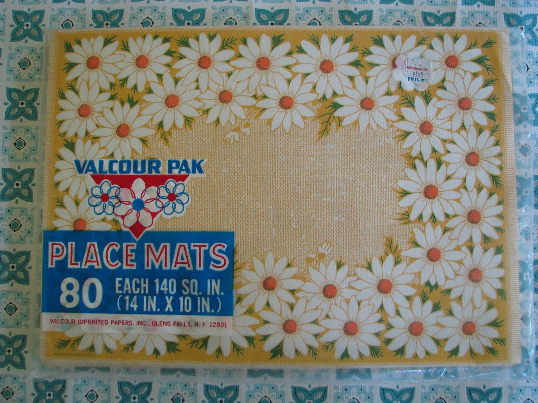 80 fun vintage daisy flower paper placemats by dimestorechic