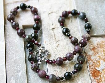 Tourmaline necklace, garnet necklace, stone jewelry, toggle clasp