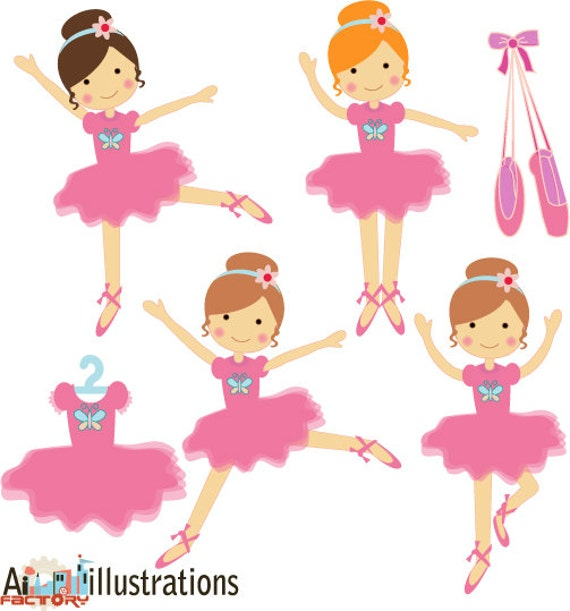 Pink little ballerina dancing  tutu graphics clipart set for graphic design , web design , scrapbooking , cardmaking  - illustrations