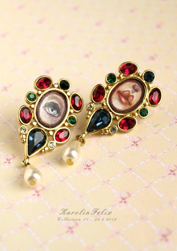 Dream Candies - lovers eye, sweet lips -  mini paintings set into the stunning vintage earrings. pop surrealism by KarolinFelix