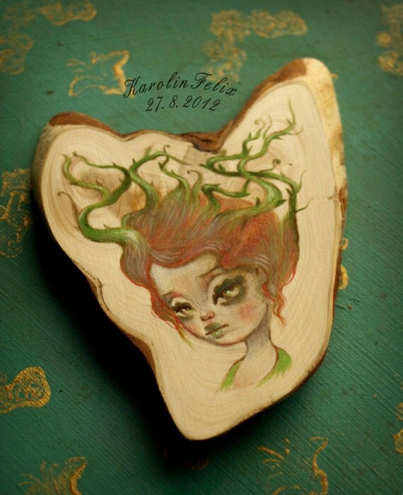 Thorn Thicket - spirit of Woods - original painting on wood. pop surreal art by Karolin Felix