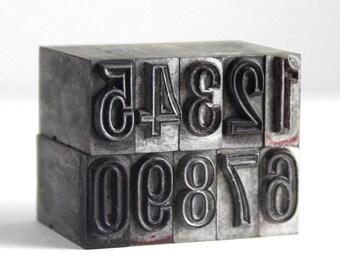 NUMBERS 36pt Vintage Metal Letterpress