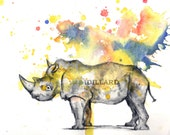 Rhinoceros Art Animal Watercolor Painting - 5 X 7 Print Watercolor Painting Great Decor for Children Kids Baby Nursery art Room