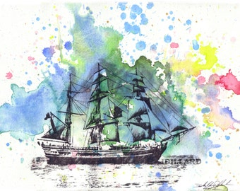 Sail Boat Ship Nautical Wall Art Print from Original Watercolor Painting 13 x 19 in Boat Art