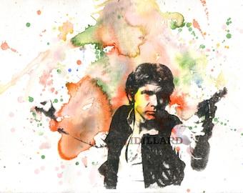 Star Wars Art Print Han Solo Movie Poster from Original Watercolor Painting Pop Art print 13 x 19 in. Star Wars Poster Print Great Geek Gift