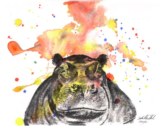 Hippo Original Watercolor Animal Painting 8 5 X 11