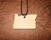 Wooden Oregon Necklace, State Jewelry in Lasercut Wood