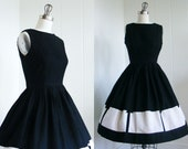 RESERVED 1950's Vintage Black and White Color Block Dress
