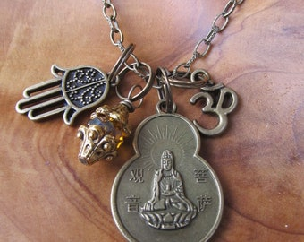 Buddha Quan-Yin Coin Charm Necklace- Goddess of Compassion with Om, Hamsa and Topaz Beaded Dangle, Namaste, Zen, Buddhism, Yoga Jewelry