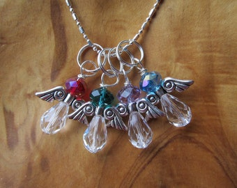 Mothers Day - All My ANGELS Birthstone Charm Necklace - Choose any Swarovski Crystals - Great Gift for Mom, Grandma, Godmother