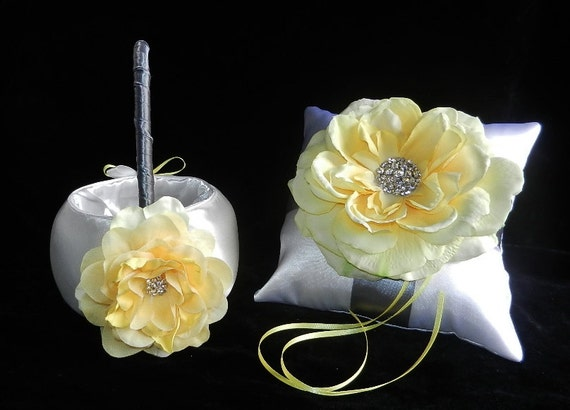 Bloom Collection Silver Yellow and White OR Ivory Wedding Set Ring Bearer Pillow and Flower Girl Basket