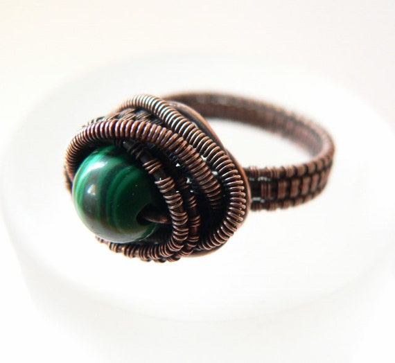 Malachite copper ring, freeform wire wrapped ring, OOAK jewelry