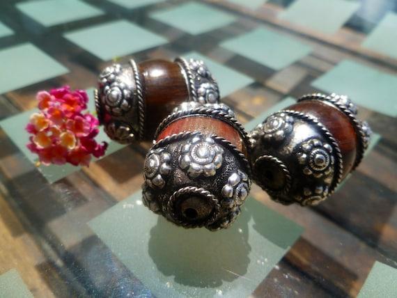 Chunky Metal Encased Wood Beads